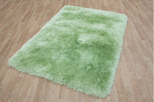 100% Polyester Green Shaggy Rug Design Handmade in China with a 45mm pile