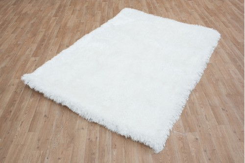 100% Polyester White Shaggy Rug Design Handmade in China with a 45mm pile