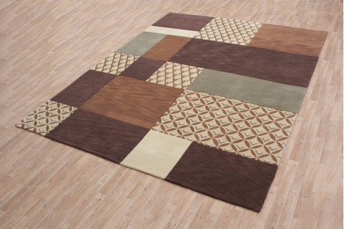 100% Wool Multi Modern Designer Rug Handmade in China with a 15mm pile
