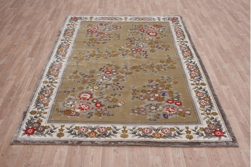 100% Silk Gold 120 Line Zhenping Rug CSK021000 245x170 Handknotted in China with a 12mm pile