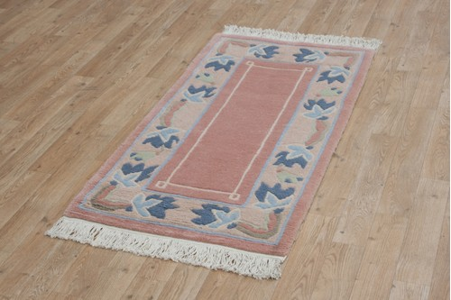 100% Wool Peach Fine Tibetan Rug CTN008CHE Hndknotted in Tibet with a 15mm pile