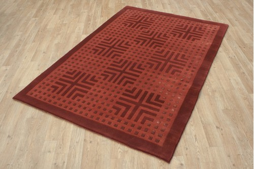 80% Wool / 20% Silk Red Designer Tibetan Rug Design Handknotted in Tibet with a 12mm pile