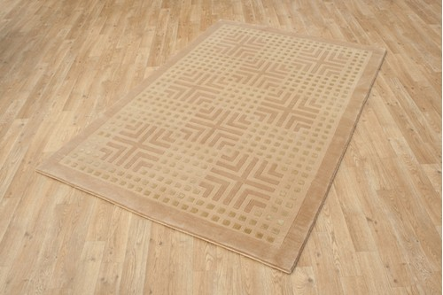 80% Wool / 20% Silk Brown Designer Tibetan Rug Design Handknotted in Tibet with a 12mm pile