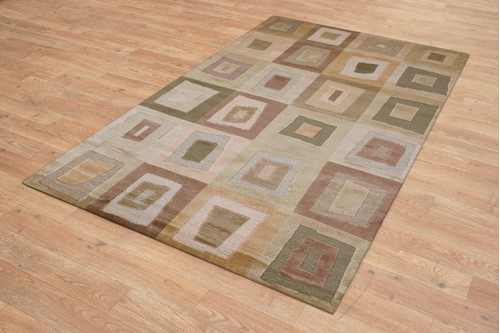 100% Wool Multi Designer Tibetan Rug Design Handknotted in Tibet with a 12mm pile
