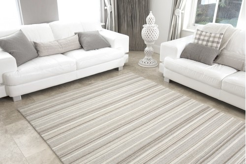 100% Wool Ella Claire Stripes Handknotted in India with a 15mm pile