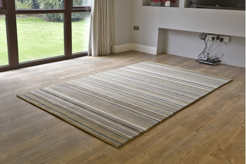 100% Wool Multi Ella Claire Stripes Handknotted in India with a 15mm pile