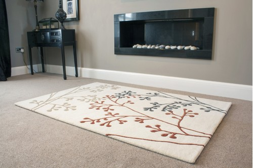 100% Wool Cream Ella Claire Exclusive Indian Rug Handmade in India with a 18mm pile