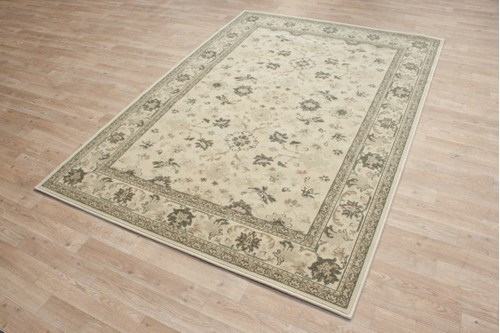 100% Wool Cream Kashimar Woven Rug Design Machine Made in Belgium with a 12mm pile
