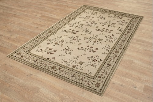 100% Wool Cream Kashimar Woven Rug Design Machine Woven in Egypt with a 12mm pile