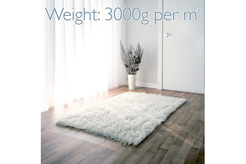 100% Wool Cream Flokati Premium Rug Handknotted in Greece with a 45mm pile