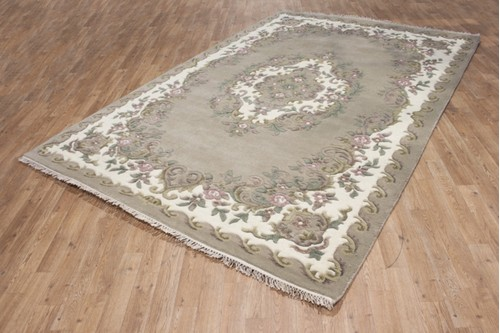 100% Wool Beige Ganges Indian Rug Design Handknotted in India with a 18mm pile