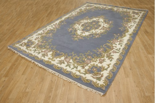 100% Wool Blue Ganges Indian Rug Design Handknotted in India with a 18mm pile