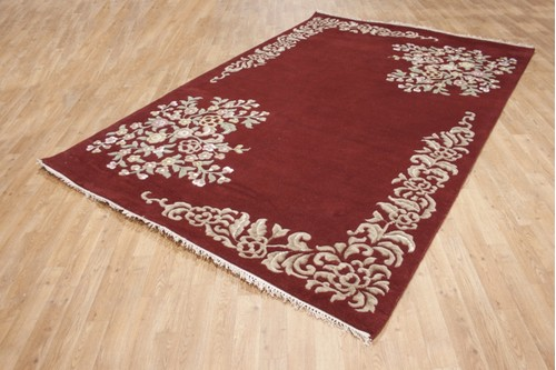100% Wool Red Ganges Indian Rug Design Handknotted in India with a 18mm pile