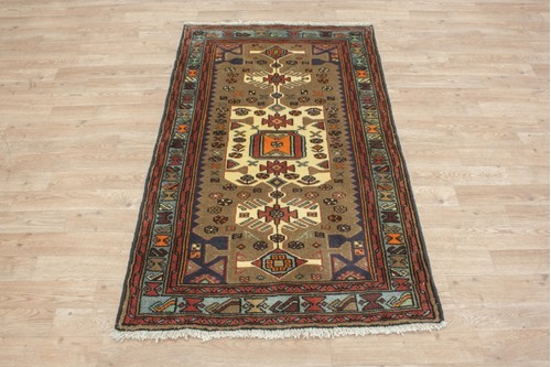 100% Wool Multi Persian Hamadan Rug HAM013000 142 x 86 Handknotted in Iran with a 11mm pile