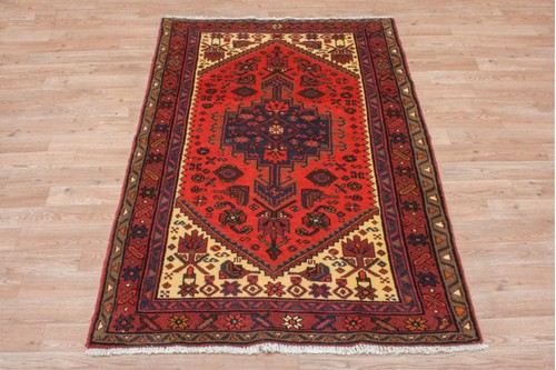 100% Wool Red Persian Hamadan Rug HAM014000 154x99 Handknotted in Iran with a 11mm pile
