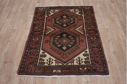 100% Wool Rust Persian Hamadan Rug HAM014CHE 138 x 100 Handknotted in Iran with a 11mm pile