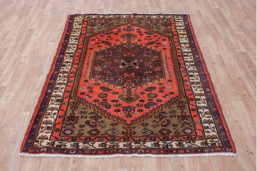 100% Wool Rust Persian Hamadan Rug HAM019CHE 203x130 Handknotted in Iran with a pile