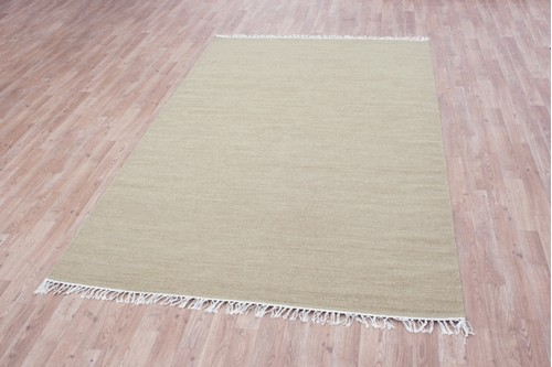 Wool woven onto Cotton Gold Indian Dhurrie Rug Handmade in India with a 5mm pile