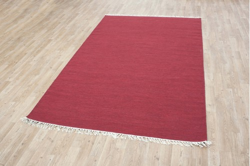 Wool woven onto Cotton Red Indian Dhurrie Rug Handmade in India with a 5mm pile