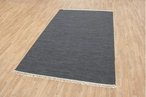 Wool woven onto Cotton Blue Indian Dhurrie Rug Handmade in India with a 5mm pile