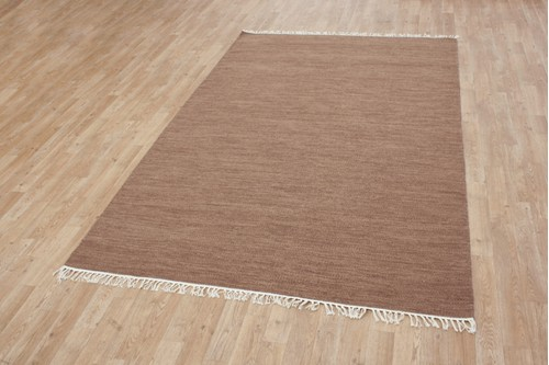 Wool woven onto Cotton Brown Indian Dhurrie Rug Handmade in India with a 5mm pile