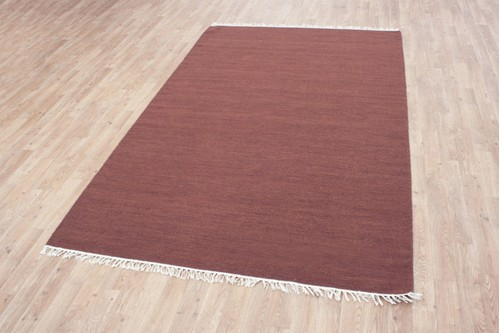 Wool woven onto Cotton Rust Indian Dhurrie Rug Handmade in India with a 5mm pile