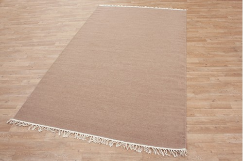 Wool woven onto Cotton Beige Indian Dhurrie Rug Handmade in India with a 5mm pile
