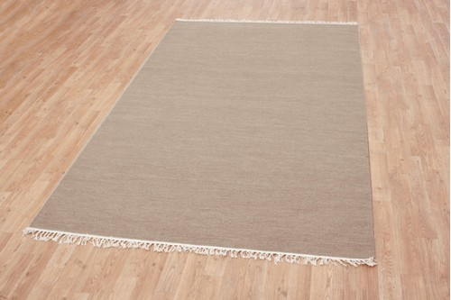 Wool woven onto Cotton Cream Indian Dhurrie Rug Handmade in India with a 5mm pile