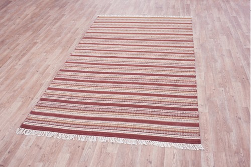 Wool woven onto Cotton Multi Indian Kelim Rug Handmade in India with a 5mm pile