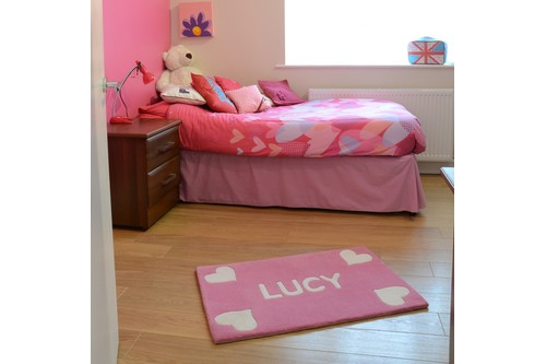 100% Wool Pink Personalised Rugs - Handmade in India with a 15mm pile