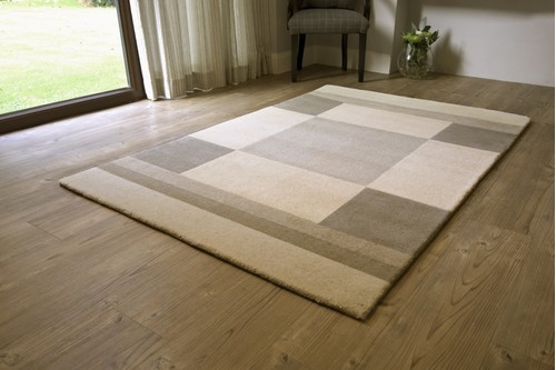 100% Wool Cream Modern Indian Rug Design Handmade in India with a 15mm pile