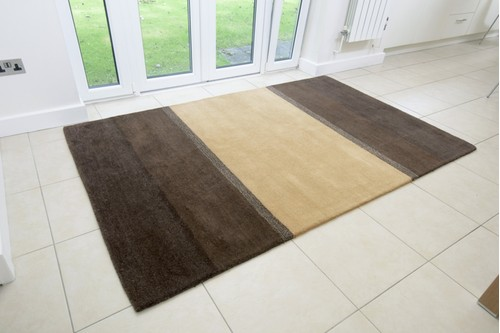 100% Wool Brown Modern Indian Rug Design Handmade in India with a 15mm pile