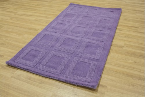 100% Wool Purple Metro Rug Design Handmade in India with a 18mm pile