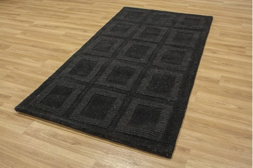 100% Wool Black Metro Rug Design Handmade in India with a 18mm pile
