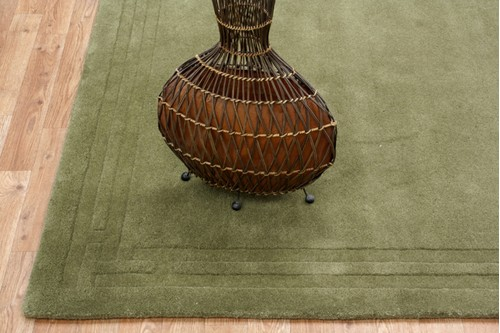 100% Wool Green Lippa Plain Carved Indian Rug Design Handtufted in India with a 13mm pile
