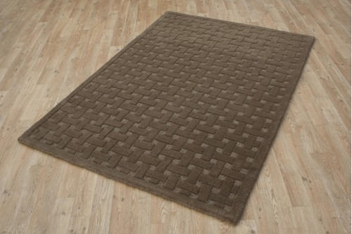 100% Wool Brown Indian Mahal Basket Weave Design HMBC02 Handmade in India with a 18mm pile
