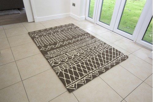100% WOOL Brown Moroccan Style Tribal Rug Handmade in India with a pile