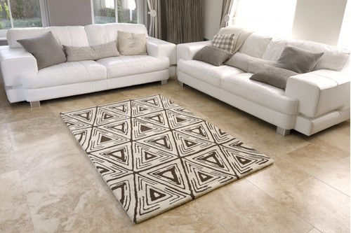 100% WOOL Cream Moroccan Style Tribal Rug Handmade in India with a pile