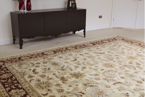 100% Wool Cream Indo Keshan Rug Design Handmade in India with a 15mm pile