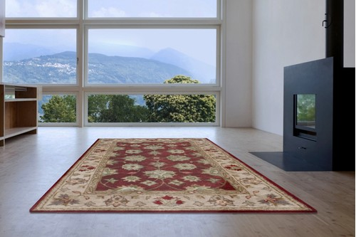 100% Wool Red Indo Taj Rug Design Handmade in India with a 15mm pile