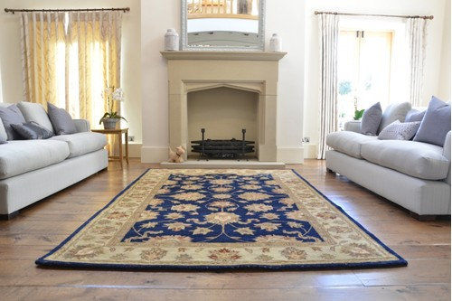 100% Wool Blue Indo Taj Rug Design Handmade in India with a 15mm pile