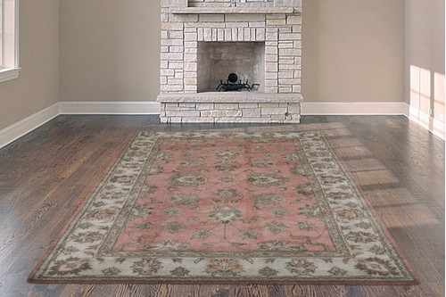 100% Wool Rose Indo Taj Rug Design Handmade in India with a 15mm pile