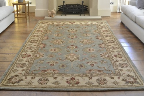 100% Wool Green Indo Taj Rug Design Handmade in India with a 15mm pile