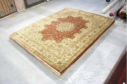 100% Wool Rust Fine Indo Meshed IFM033074 4.59 x 3.96 Handknotted in India with a pile