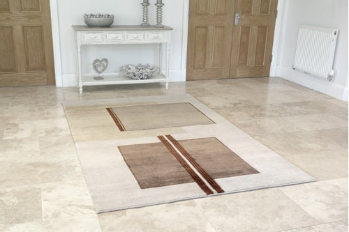 100% Wool Cream Indian Infinity rug design Handknotted in India with a 10mm pile