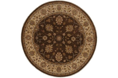 100% Twisted Argentine Wool Brown Jaipur Gazni Indian Rug Design Handknotted in India with a 18mm pile