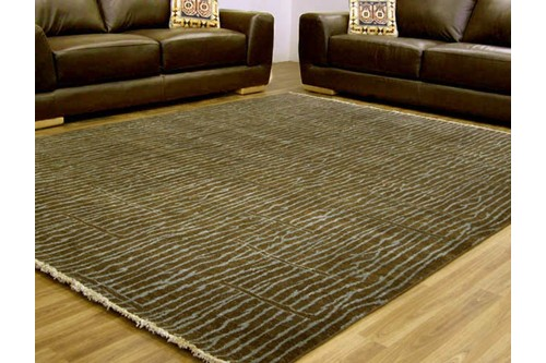 100% Wool Brown Mystic Modern Indian Rug Design Handknotted in India with a 15mm pile