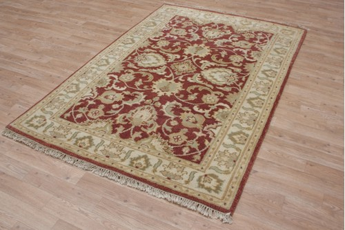 100% Wool Rust Fine Indo Agra Rug Design IPA074 Handknotted in India with a 20mm pile