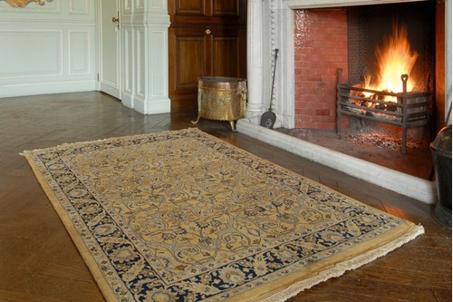 100% Wool Gold Very Fine Indo Persian Rug Design Handknotted in India with a 12mm pile