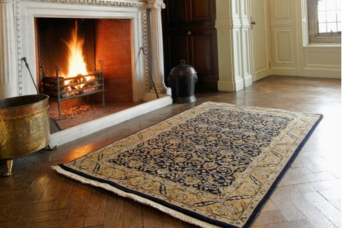 100% Wool Blue Very Fine Indo Persian Rug Design Handknotted in India with a 12mm pile